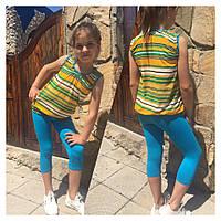 """Летний детский костюм для девочки """"Мариша"""" майка и бриджи с карманами"""