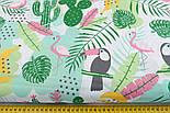 """Ткань хлопковая """"Графитовые туканы и бананы"""" на белом (№2272), фото 2"""