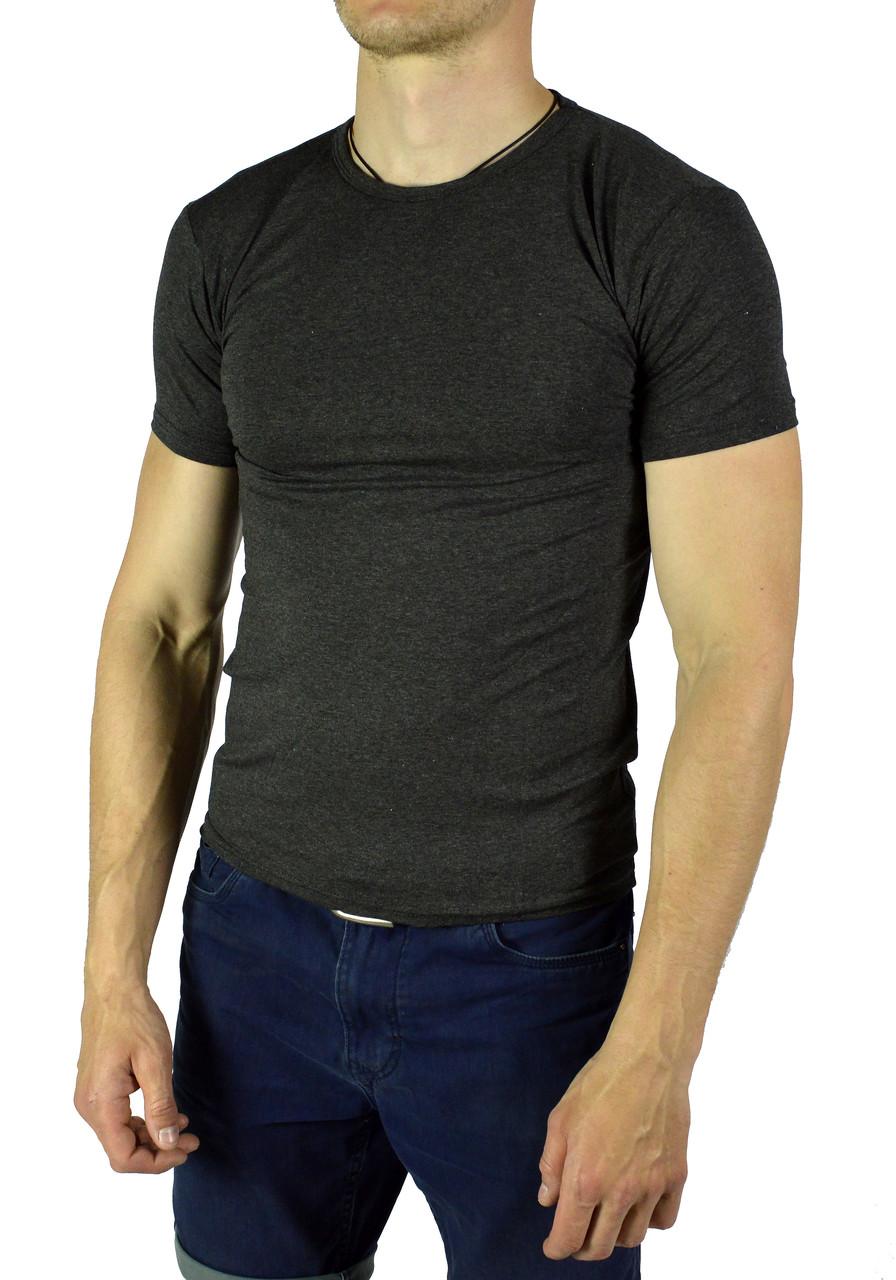 Темно-серая мужская футболка однотонная WILUSA на лето