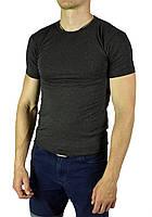Темно-серая мужская футболка однотонная WILUSA на лето, фото 1