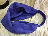 Косынка повязка на резинке цвет молочный белый и сиреневый, фото 6