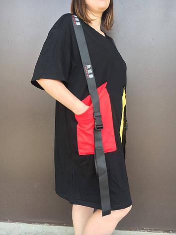 Туніка жіноча чорна в стилі oversize, фото 2