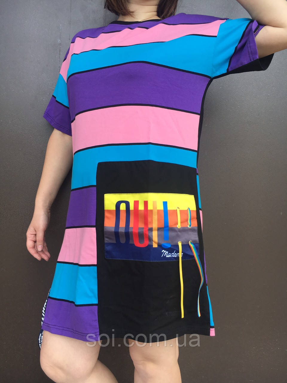 Туніка жіноча з розрізом смужки (oversize)