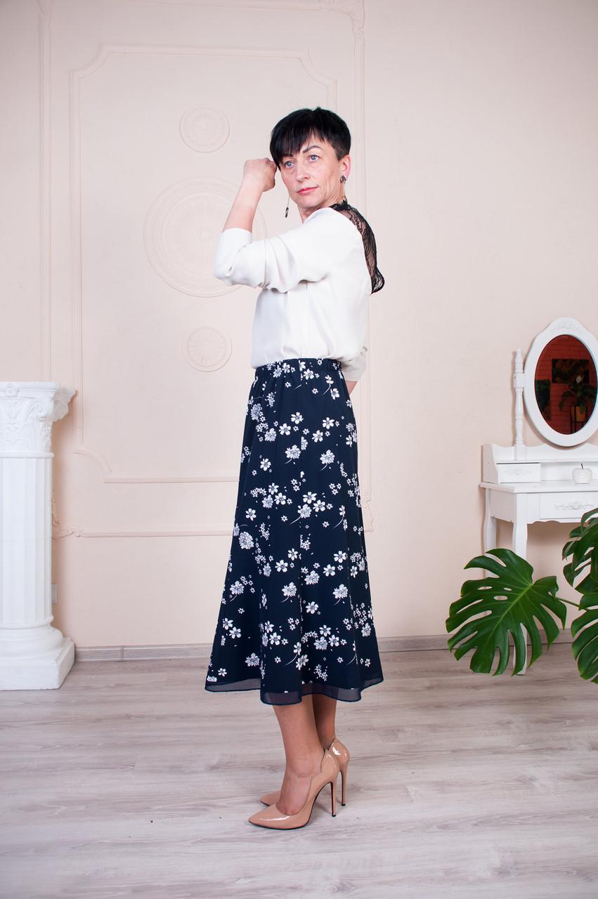 Женская летняя юбка годе №8 синяя с цветами