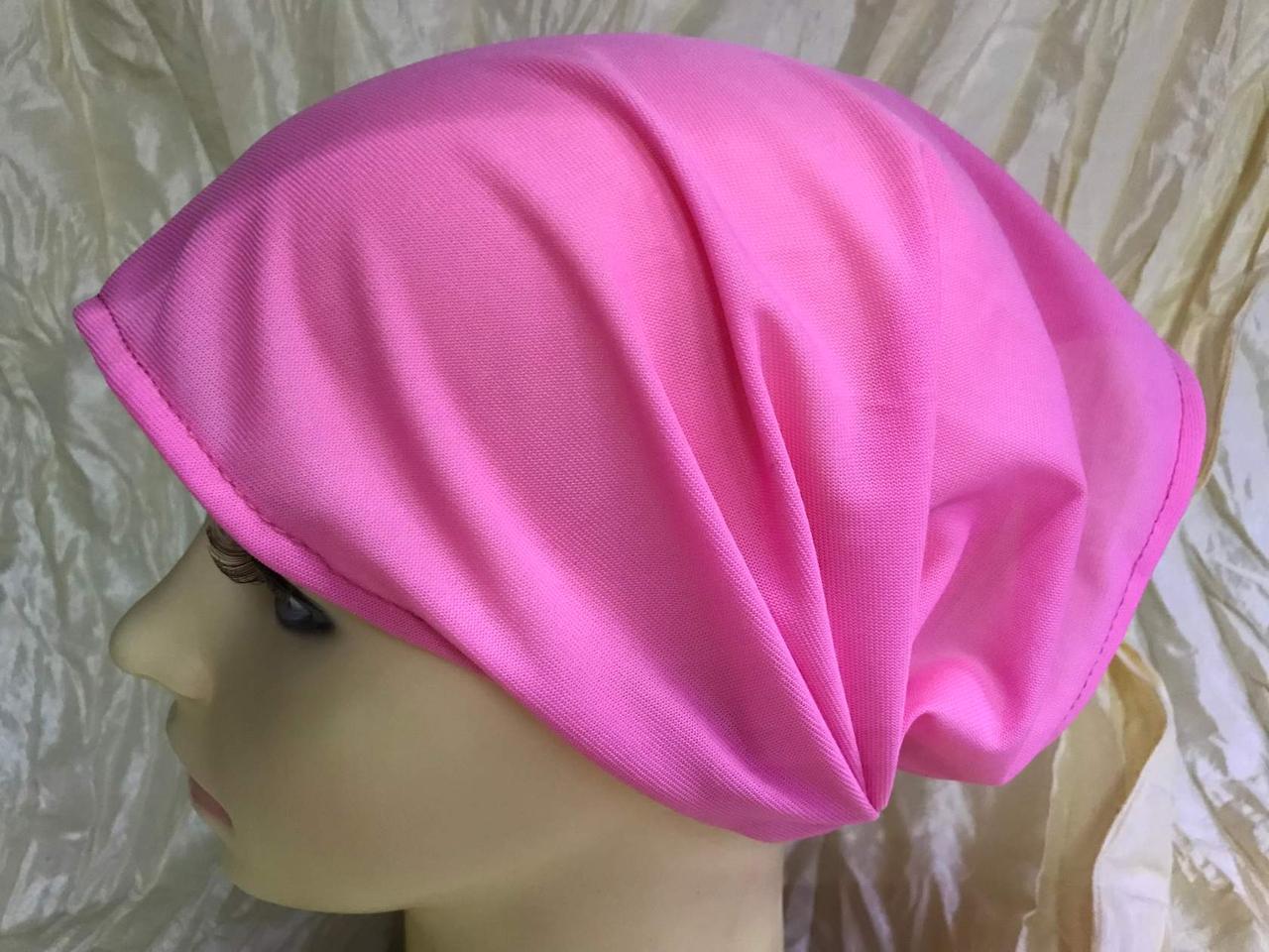 Косынка повязка на резинке цвет голубой розовый цветной