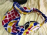 Косынка повязка на резинке цвет голубой розовый цветной, фото 4