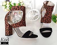 Стильные босоножки на каблуке Код 2052 черно-леопардовые, фото 1