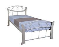 Односпальная кровать металлическая с деревянными ногами Селена Вуд Melbi. Ліжко односпальне металеве