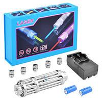 Мощная лазерная указка, встр. аккум., ЗУ microUSB, 5 насадок, PowerBAnk