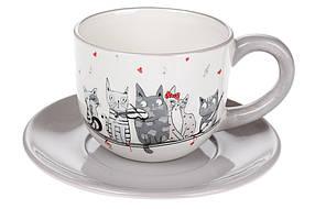 Чашка 240мл с блюдцем керамическая с объемным рисунком Ночная серенада, DM534-M