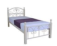 Односпальная кровать из металла с деревянными ножками Патриция Вуд Melbi. Ліжко односпальне металеве 200х90, белая