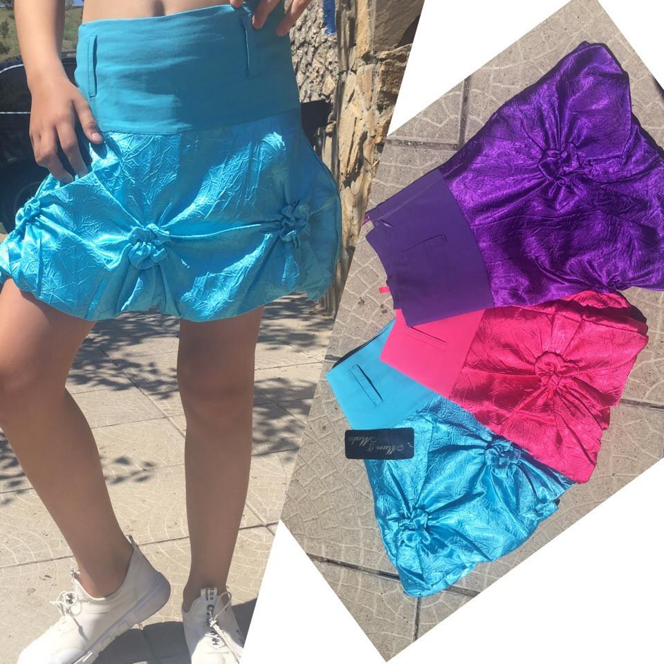 """Нарядная комбинированная атласная юбка """"Вероника"""" с цветами из ткани  (3 цвета)"""