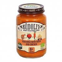 Мясо-овощное органическое пюре Rudolfs Овощи с макаронами и курицей с 8 месяцев 190 г