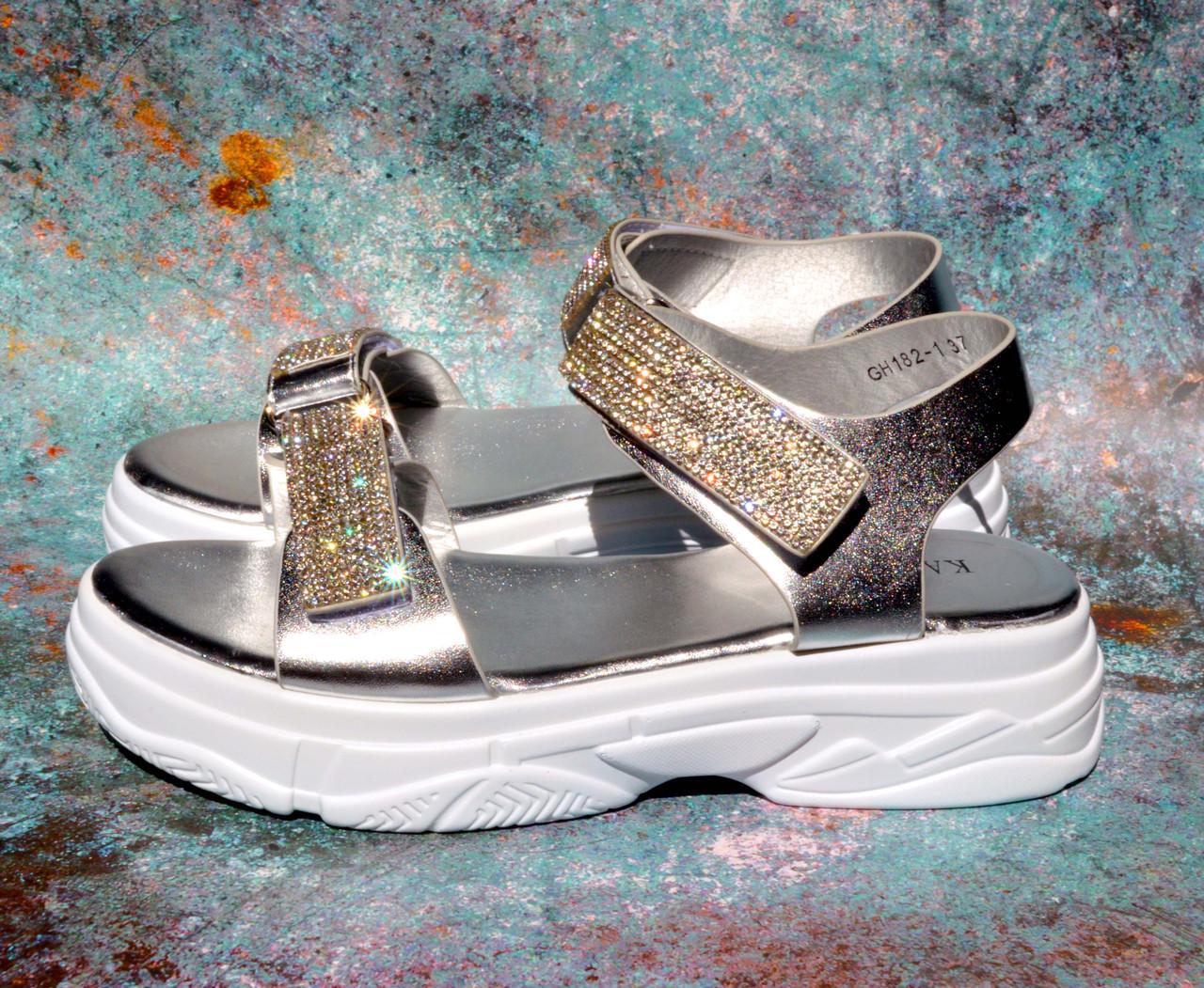 ✅ Босоножки на платформе женские со стразами серебро сандали, фото 1
