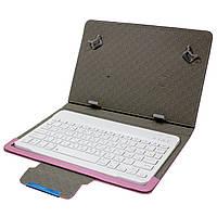 """✓Чехол Lesko 10.1"""" + kayboard WL Pink с беспроводной клавиатурой надежный магнит Bluetooth"""