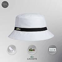 Мужская панама классическая Lacoste Bucket Hat Dark White Black (реплика)