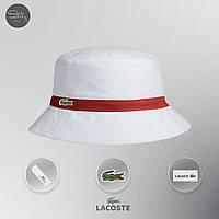 Мужская панама классическая Lacoste Bucket Hat Dark White White Red (реплика)