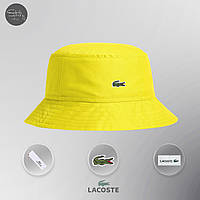 Мужская панама классическая Lacoste Bucket Hat Dark White Yellow (реплика)