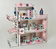 Кукольный домик для Барби NestWood Люкс плюс с лифтом без мебели розовый (kdb002), фото 2