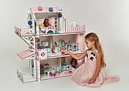 Кукольный домик для Барби NestWood Люкс плюс с лифтом без мебели розовый (kdb002), фото 4
