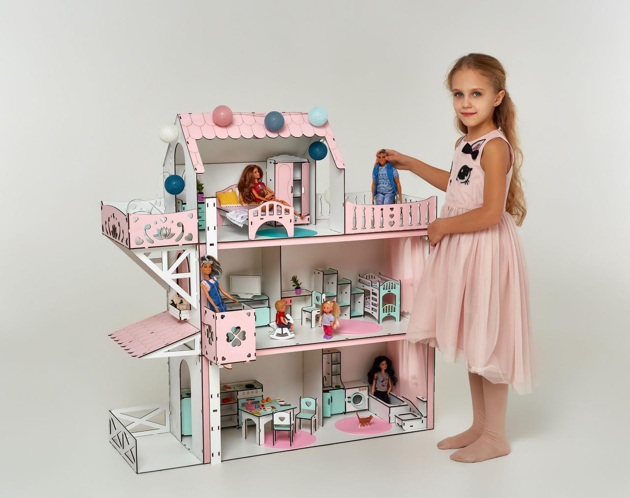 Кукольный домик для Барби NestWood Люкс плюс с лифтом без мебели розовый (kdb002)