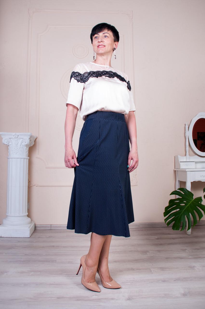 Женская юбка клеш Тая софт синяя