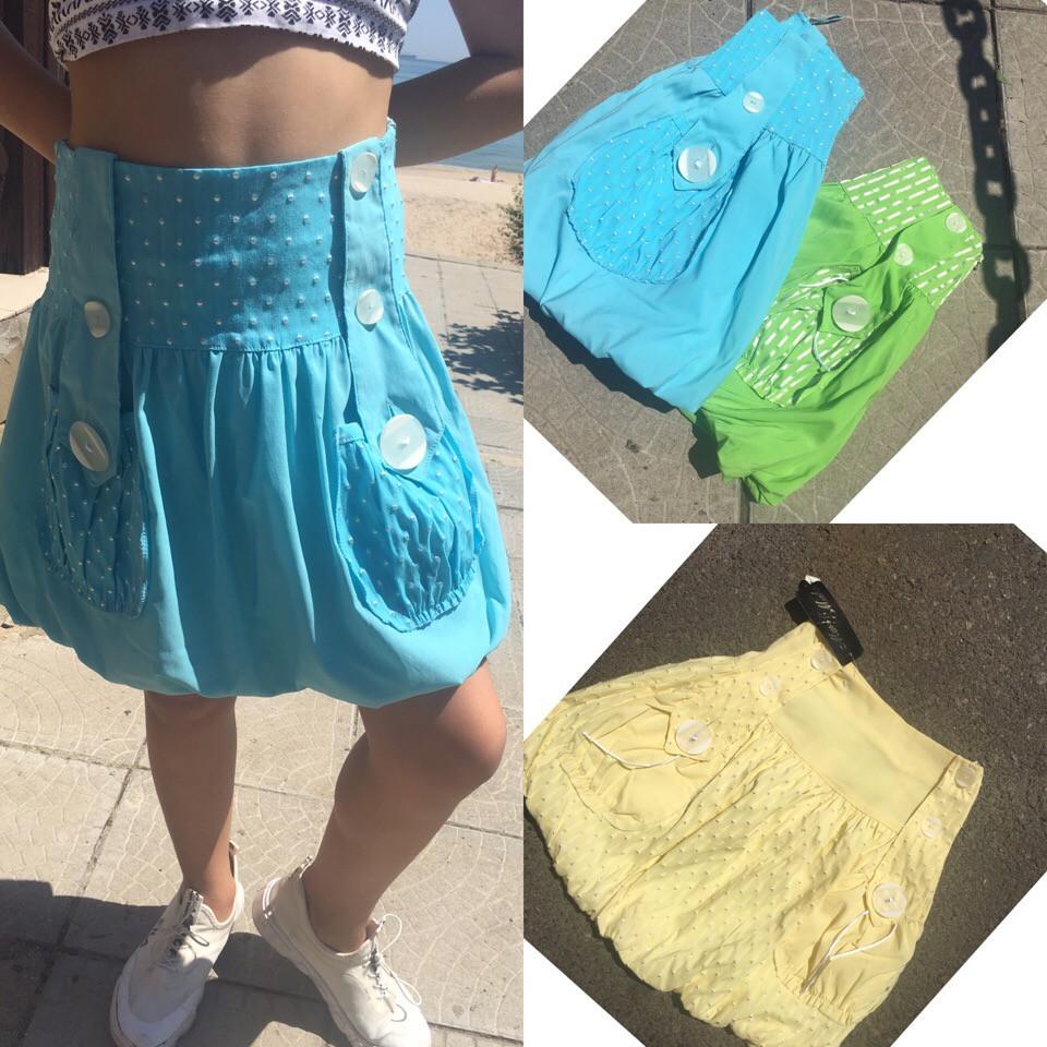 """Хлопковая летняя детская юбка """"Тася"""" с карманами (3 цвета)"""