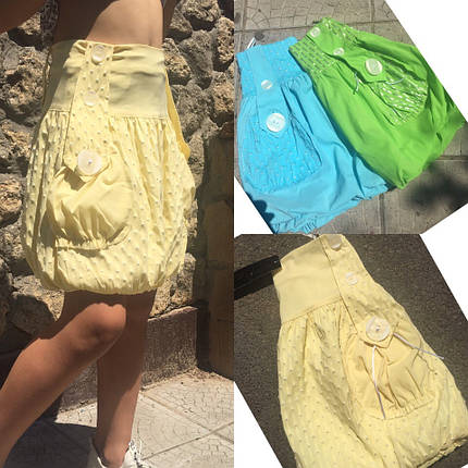 """Хлопковая летняя детская юбка """"Тася"""" с карманами (3 цвета), фото 2"""