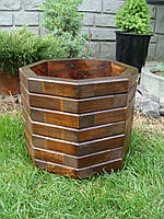 Кадка, кашпо, вазон, деревянный для растений и деревьев (8 граней)