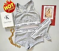 Женский комплект Calvin Klein тройка топ слипы стринги серый, фото 1