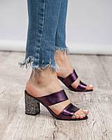 Босоножки на рельефном каблуке фиолетовые, фото 1