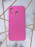 Силиконовый матовый чехол Silicone Case для Samsung Galaxy А30 (2019) А305 / A20 Ярко-розовый