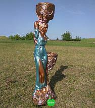 Кашпо бронза статуя Таня голубое платье, фото 3
