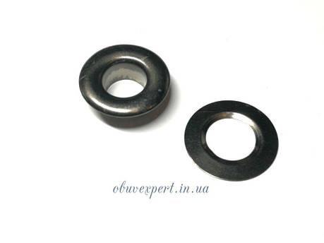 Люверс с шайбой 10 мм (19*8,5*7 мм) Черный Никель, фото 2