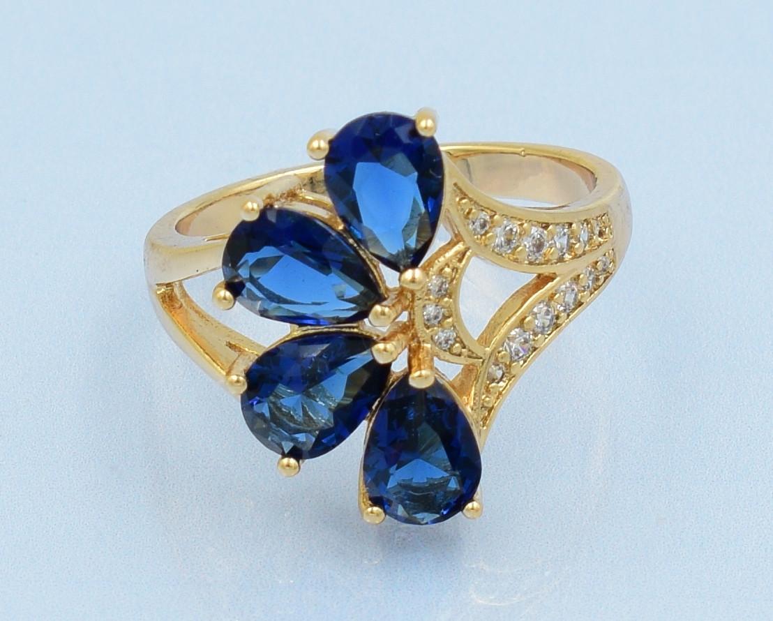 XUPING Кольцо Позолота 18к с синими и белыми цирконами Размер 18,19
