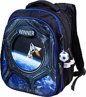 Рюкзак ортопедический школьный для мальчика 1-4 классов синий Winner stile 8071 размер 29 * 17,5 * 38,5 см