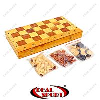 Шахматы, шашки, нарды 3 в 1 деревянные IG-CH-04