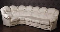 """Белый угловой диван в классическом стиле из натуральной кожи """"Мальта"""""""