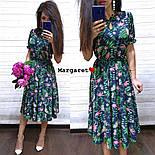 Женское платье-миди с цветочным принтом (в расцветках), фото 2