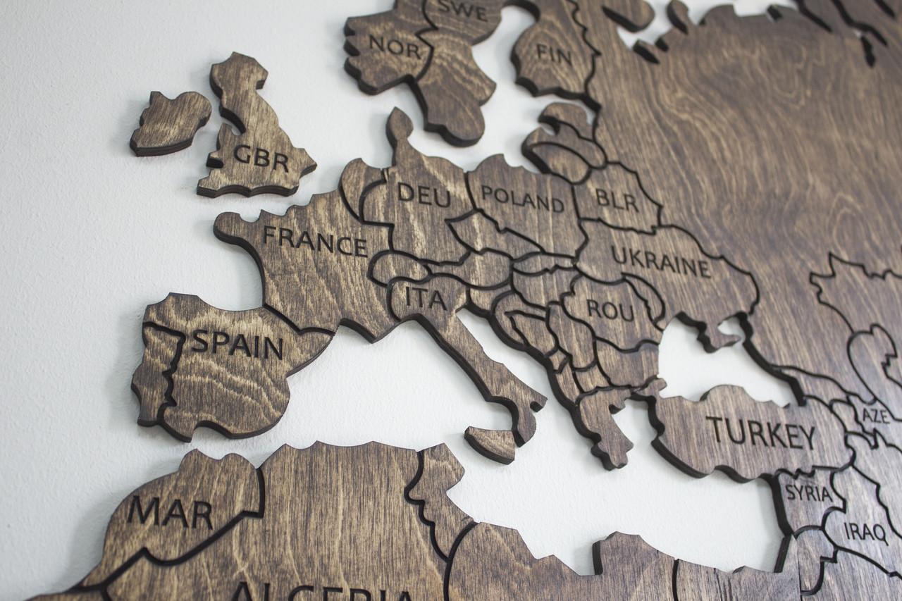 Карта з фанери на стіну