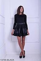 Стильное кукольное платье со вставками из экокожи Dittany S, Black