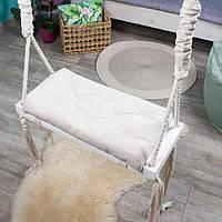 Деревянная подвесная качель 25*60см со сьемной сидушкой, качель для детей и взрослых