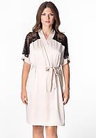 "Женский короткий халат на запах бежевого цвета с кружевом ""Onyx"" качество premium"