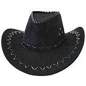 Шляпа ковбоя замшевая (черная) 170216-321