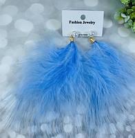 Сережки Перо з перлиною, 12 см кольори мікс