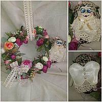 Декоративный веночек с ангелочком, ручная работа, диам. 25 см., 440/390 (цена за 1 шт. + 50 гр.)