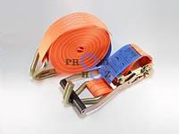 Ремень стяжной РС 2-12 ПромХоз, нагрузка 1000 кгс, Длина 12 м, Длина рукояти 230 мм, Крючок 10 мм, новый