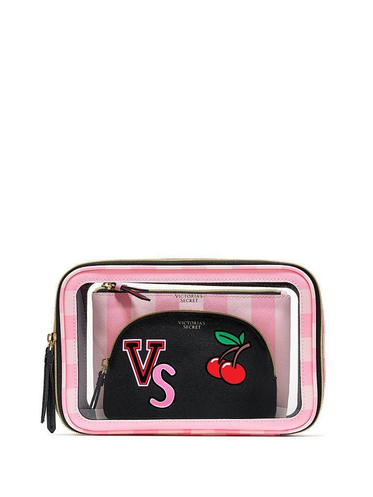 Victoria's Secret набор косметичек 3-в-1 Pink Stripe оригинал