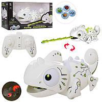 Игрушка ящерица Хамелеон 24 см на радиоуправлении, умеет ловить фишки, звук, свет, 777-618