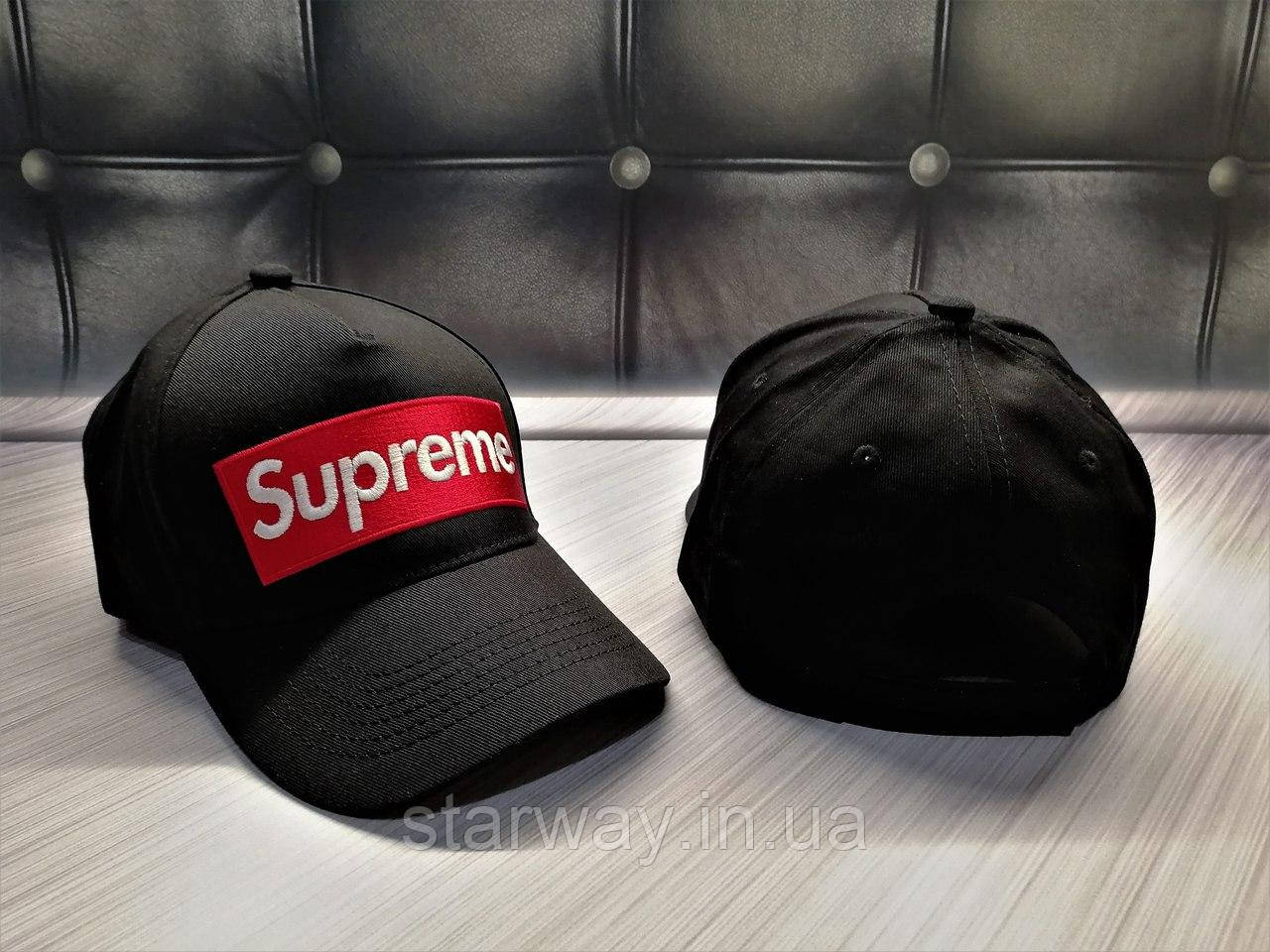 Кепка черная Supreme logo   логотип вышит